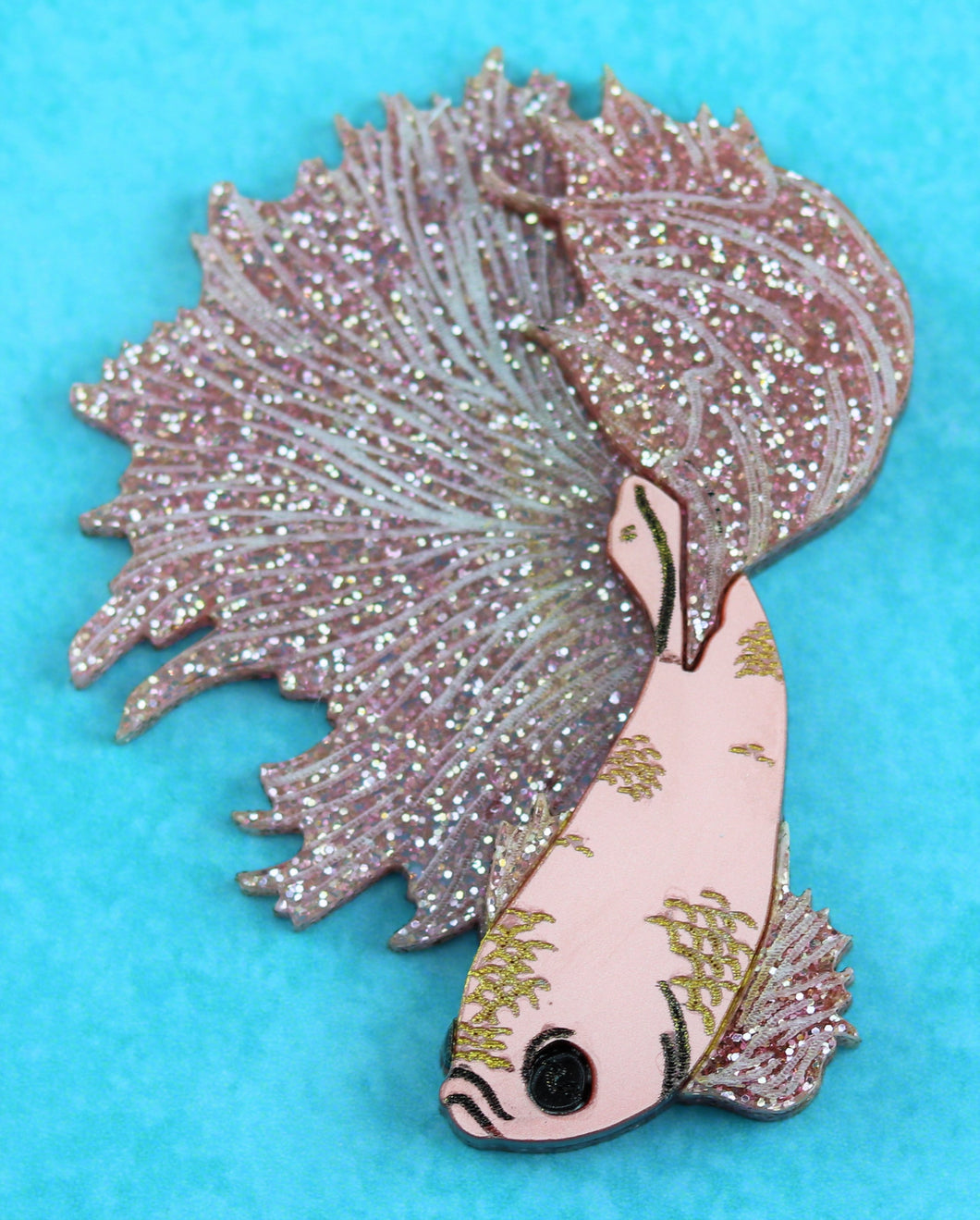 Ruby Owl Betta Fish Brooch
