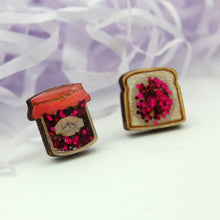 Load image into Gallery viewer, Ruby Owl Hand-made Glitter Jam and Toast Earrings