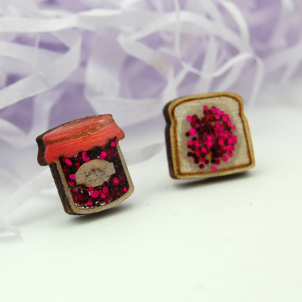 Ruby Owl Hand-made Glitter Jam and Toast Earrings