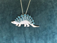 Load image into Gallery viewer, Ruby Owl Large Stegosaurus Dinosaur Necklace - Glitter Blue & Lilac
