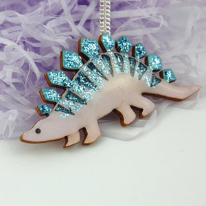 Ruby Owl Large Stegosaurus Dinosaur Necklace - Glitter Blue & Lilac