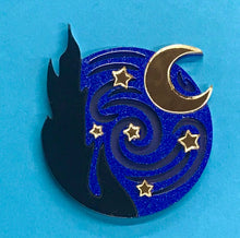 Load image into Gallery viewer, Ruby Owl Starry Night Brooch