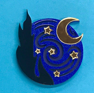 Ruby Owl Starry Night Brooch