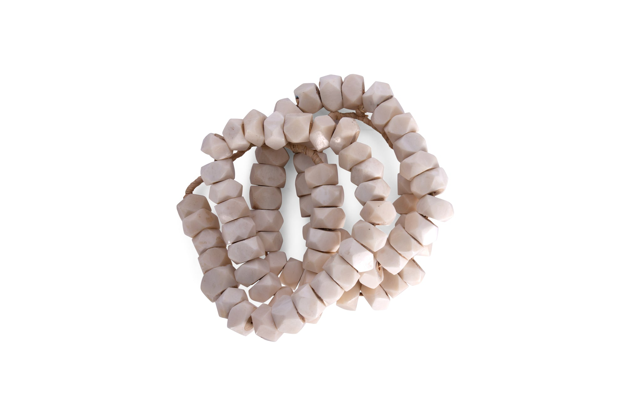 White Bone Beads Hexagonal