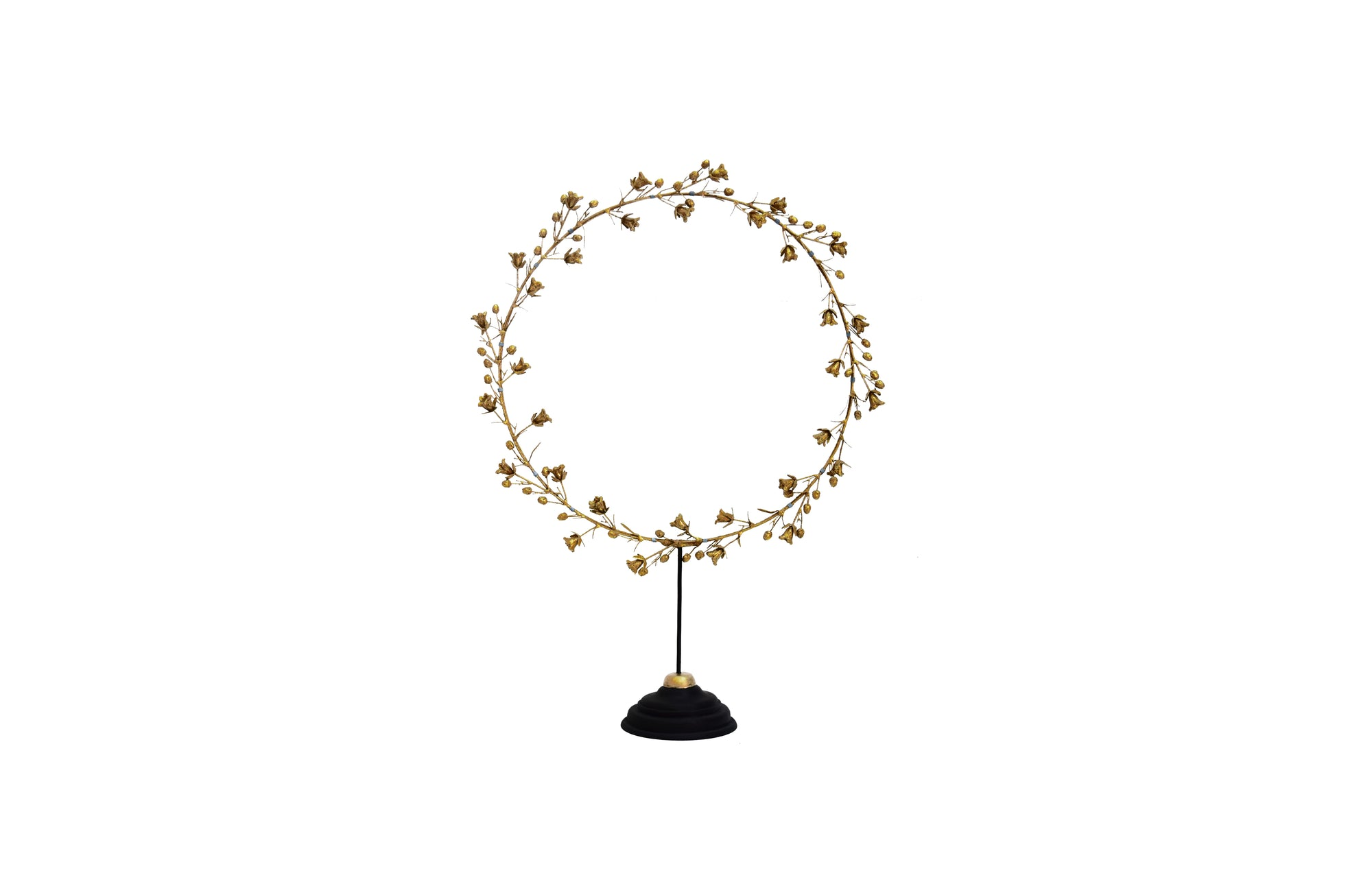 Bell Flower Wreath on Stand (L / Gold)