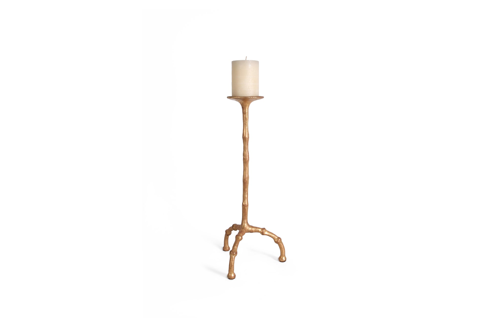 Bamboo Candlestick (L / Gold)