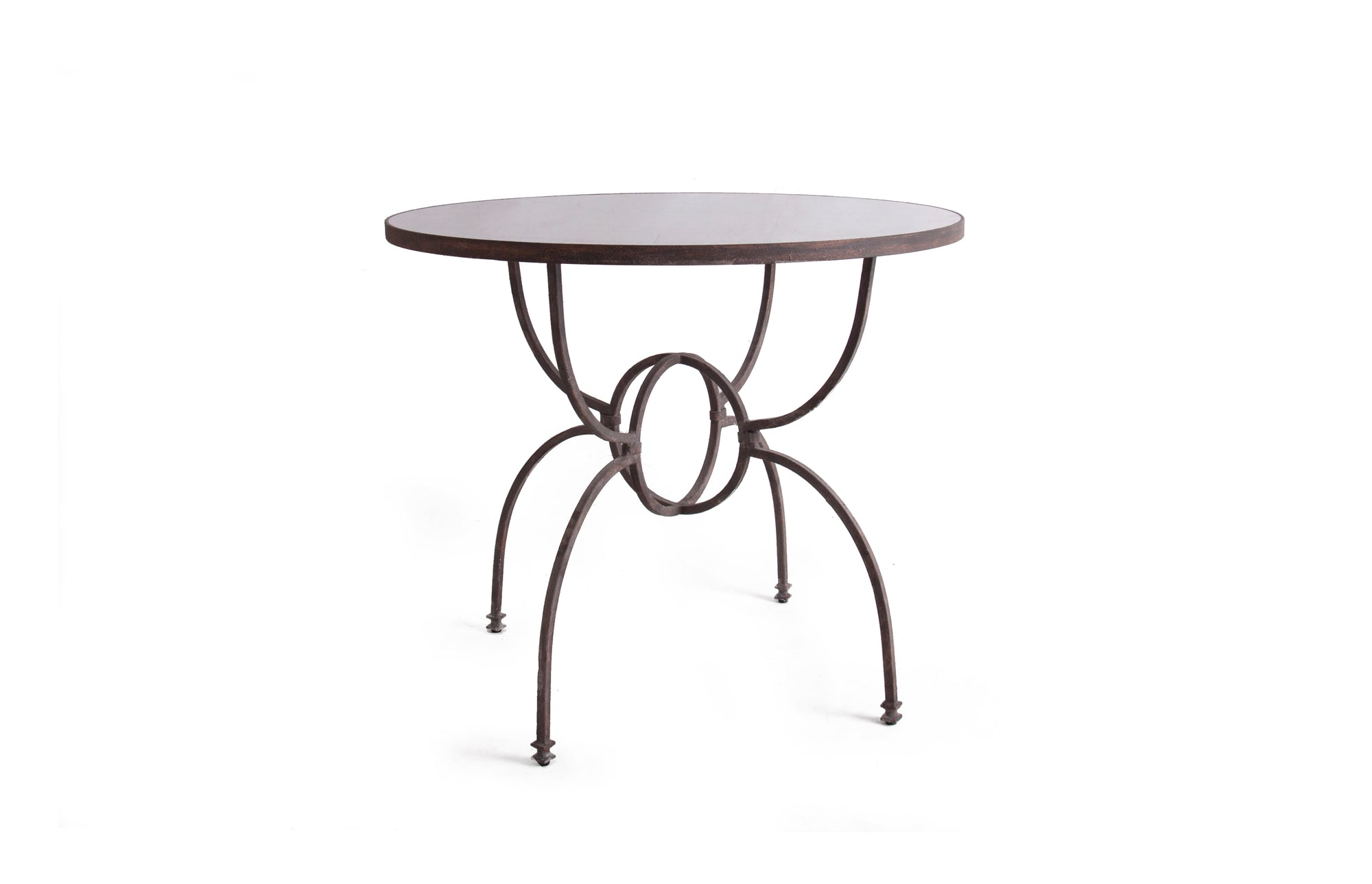 Orb Iron Base Table with Mirrored Top