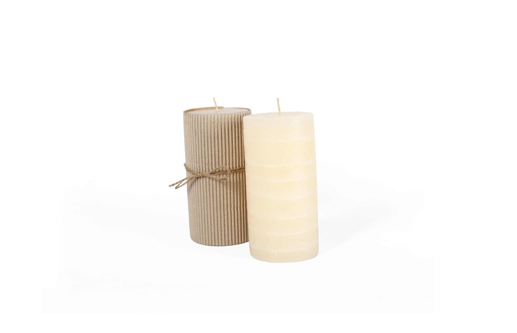 Unscented Rustic Layered Ivory Pillar - Set of 6