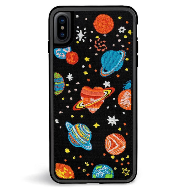 "Coque IPhone Tissu Broderies ""Cosmo"""