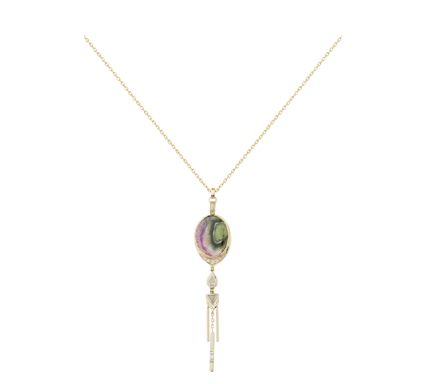 Collier Tourmaline & Trillion Gris