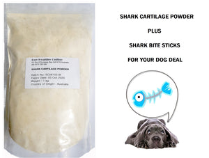 Shark Cartilage Powder 1kg pack plus shark bite sticks for your dog