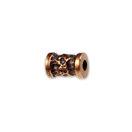 Solid Bronze free form texture, banded barrel, bead