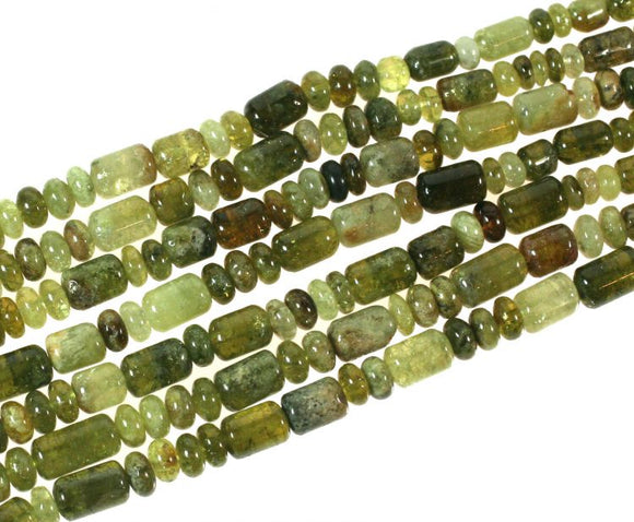 Green Garnet Barrel Rondells