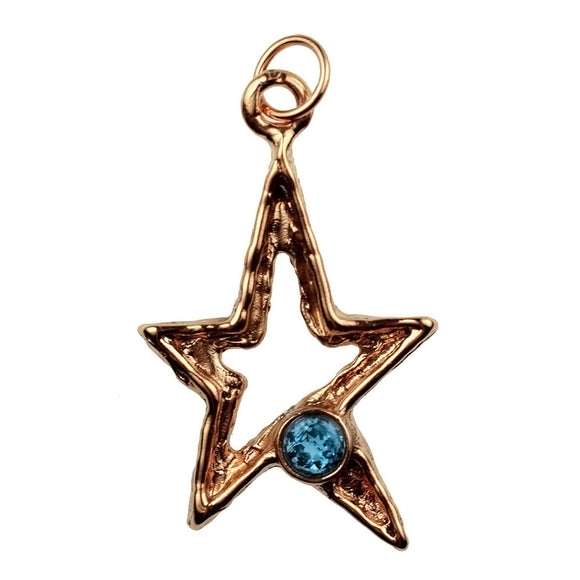 Solid Bronze SC 5pt Star With 6mm Faceted Blue Topaz.