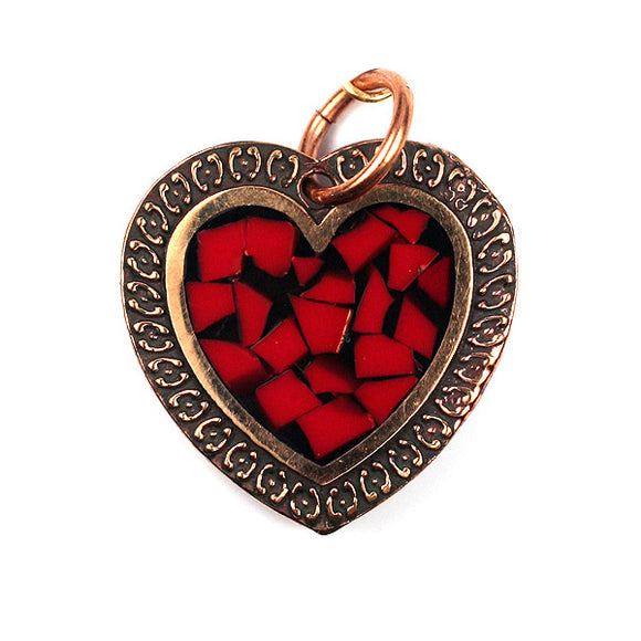Bronze Heart Pendant With Coral Inlay