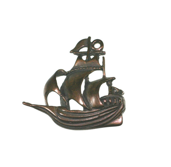 Bronze pirate ship charm pendant