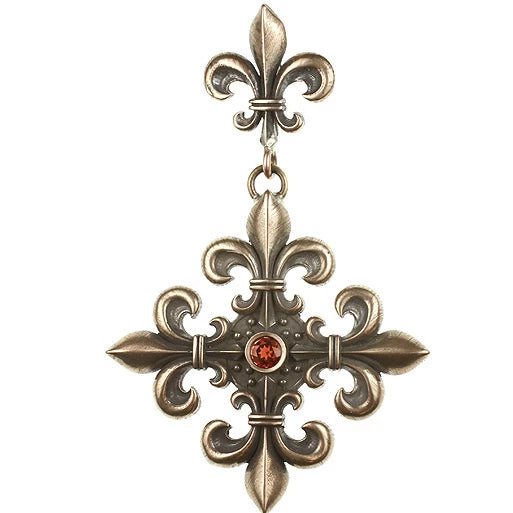 Absolutely the most beautiful hand cast Bronze 4 point Fleur De Li cross with a bezel set faceted stone of your choice.