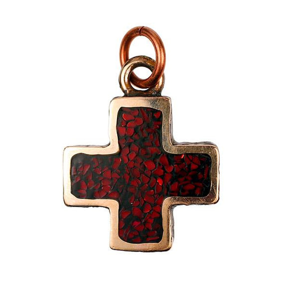 Bronze Cross with Coral Inlay