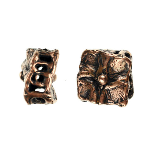 (bzbd016-9470) Bronze Custom AC's Hollow cube - Scottsdale Bead Supply
