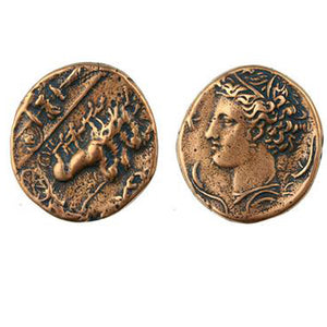 "(bzrc013-006) Greek ""Head of Persephone - Quadrica coin (Reproduction)"