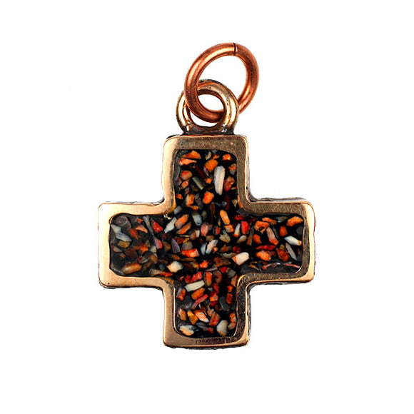Bronze Cross With Spiny Oyster Inlay