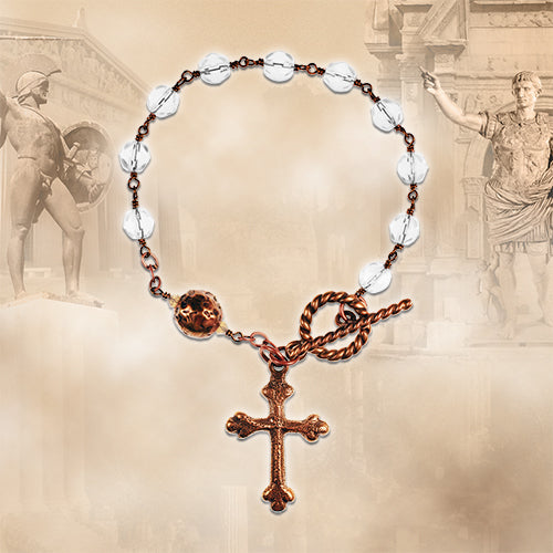 Bronze and Clear Crystal Rosary Bracelet Kit
