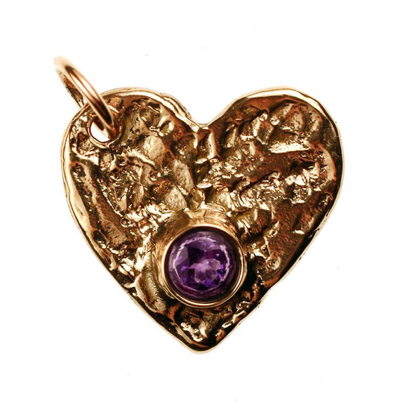 Bronze Flat Heart, 2mm Thick with Faceted Amethyst