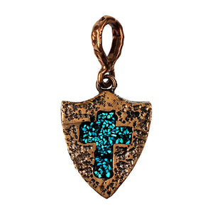 Bronze Roman Shield & Cross Pendant Inlaid with Turquoise Pin Point