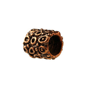 (bzbd136-9434) Bronze Textured Cylinder Bead - Scottsdale Bead Supply