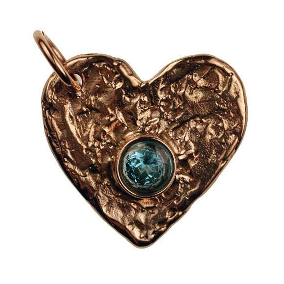 Bronze Flat Heart, 2mm Thick with Faceted Blue Topaz
