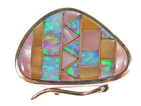 Box Clasp 5-strd Pink Mussel, Gold Lip Shell and Synth Opal