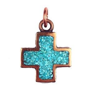 Bronze Cross with Sleeping Beauty Turquoise Inlay