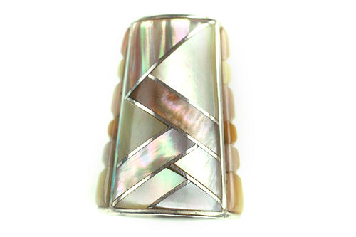 Inlay Cone 12 x 9 mm Brown and Gold Lip Shell