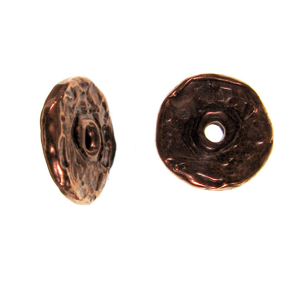 (bzbd002-9315) Bronze 12 mm flat spacer bead. - Scottsdale Bead Supply