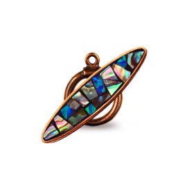 Bronze Inlay Toggle with Abalone and Synthetic Opal