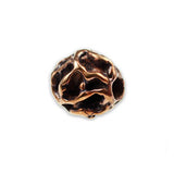 (bzbd006-9323) Solid bronze free form textured round bead. - Scottsdale Bead Supply