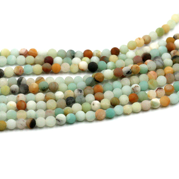 (amazonite001) 4mm Round Matte Rainbow Amazonite
