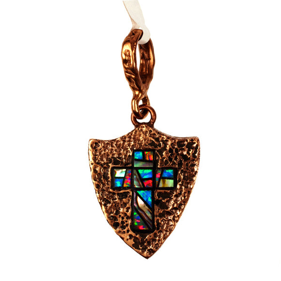Bronze Roman Shield & Cross Pendant Inlaid With Synthetic Opal