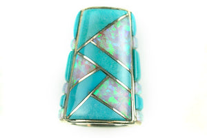 Inlay Cone 12 x 9 mm SB Turq and White Synth Opal