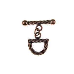 BZCT 9060 Bronze stirrup shape, lined texture toggle clasp
