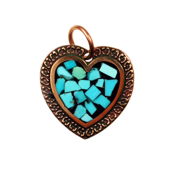 Bronze Heart Pendant With Turquoise Inlay