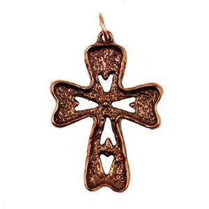 Handmade solid bronze cross by Old World Bronze.