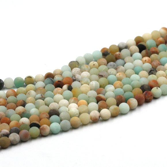(amazonite002) 6mm Round Matte Rainbow Amazonite - Scottsdale Bead Supply