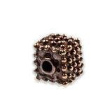 (bzbd031-9656) Handmade Solid Bronze Square Dotted Bead. - Scottsdale Bead Supply