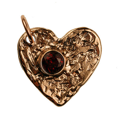 Bronze Flat Heart, 2mm Thick with Faceted Garnet