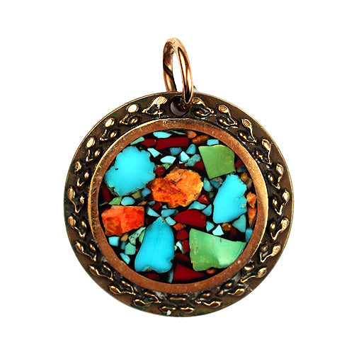 Bronze Round Pendant w/ Multi Inlay