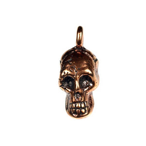 Bronze Drilled Skull Pendant