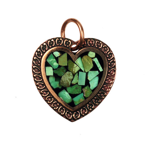 Bronze Heart Pendant With Green Turquoise