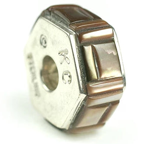 Inlay Hexagon 8 mm x 18 mm Brown Lip Shell