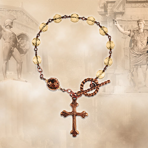 Bronze and Light Smoky Czech Crystal Rosary Bracelet Kit